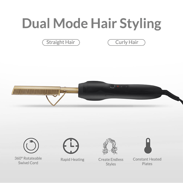 2-in-1 Heated Comb Straightener and Curler Hair Tools