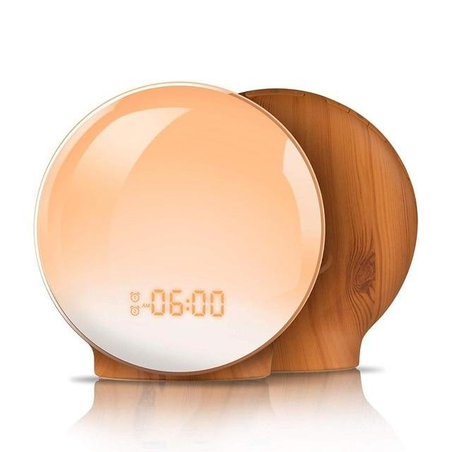 SmartSleep Digital Sunrise LED Alarm Clock Home & Decor Wood / EU Plug