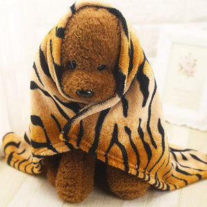 Super Soft Flannel Pet Dog Blanket Cute Tiger Striped Pet Bed Mat Dog Cat Air Condition Cover Blanket For Small and Medium Dogs