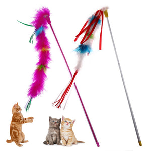 1Pc Pet Cat Toys Stick Toys Animal Teaser Training Wand Stick Toy for Cats Kitten Funny Interactive Toy Pet Cat Products