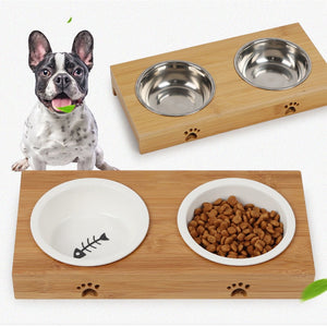 Raised Dog Bowls for Cats and Dogs Bamboo Elevated Dog Cat Food and Water Bowls Stand Feeder with 2 Bowls and Anti Slip Feet