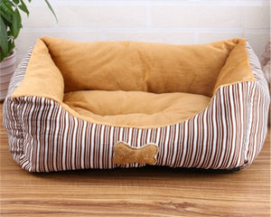 HOT ,Good Quality Stripe Square Shape Puppy Sleeping Dog Bed For Small Medium Dogs Kennel Cat Nest Chihuahua Pet House