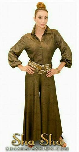 Long Sleeve Gold Pantsuit