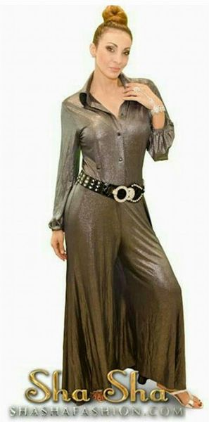 Long Sleeve Pewter Pantsuit