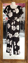 Load image into Gallery viewer, Black with White Flowers Pantsuit