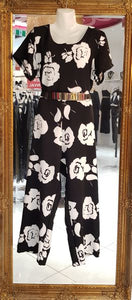 Black with White Flowers Pantsuit