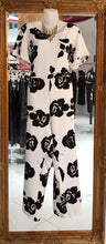 Load image into Gallery viewer, White with Black Flowers Pantsuit 2 x $69 11