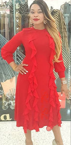 Sparkling Red Dress with Ruffles 3/4 Length Price Reduced