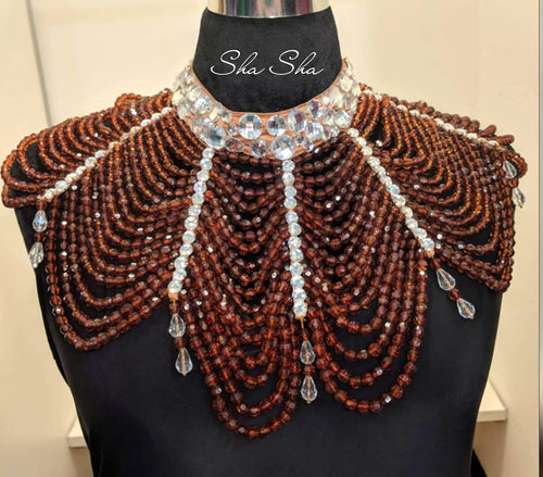 Luxury Brown and Silver Hand Beaded Statement Necklace by Sha Sha