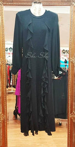 Sparkling Black Dress with Ruffles 3/4 Length Price Reduced