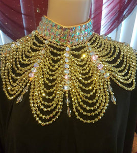 Luxury Gold Hand Beaded Statement Necklace by Sha Sha