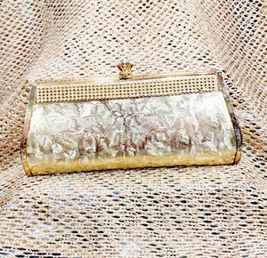 Marbled Gold Diamante Clutch