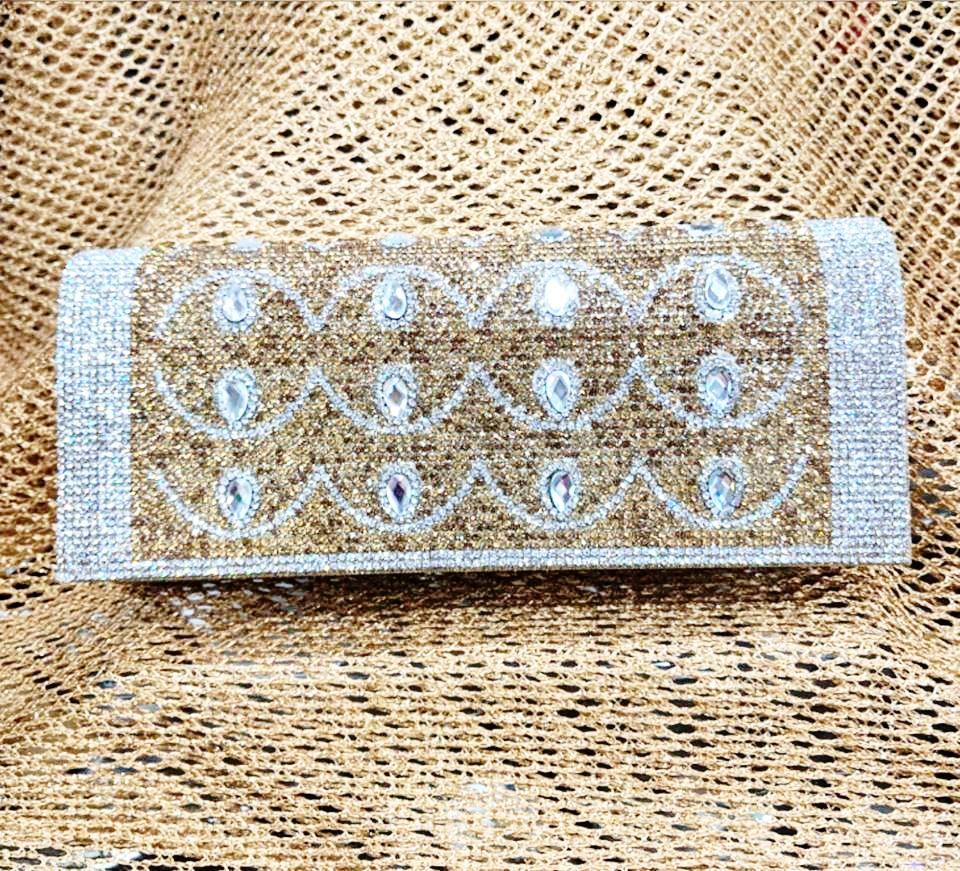 Gold and Silver Diamante Clutch