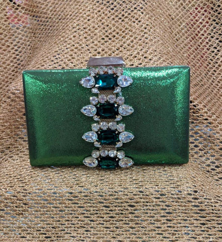Emerald Green and Gold Diamante Clutch