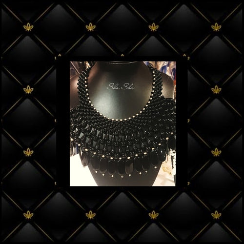 Black Chunky Statement Beaded Necklace