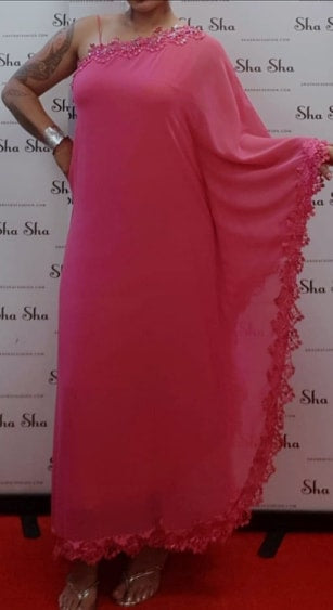 Pink One Shoulder Evening Dress with Luxury Trim
