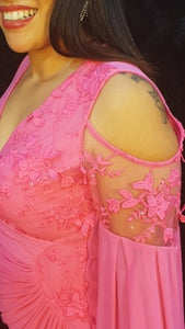 Pretty Pink Hole Shoulder Design Stretch Evening Dress