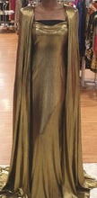 Load image into Gallery viewer, Internationally Published Gold Dress with Elegant Cape