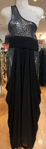 Sha Sha Black & Gold Stretch Evening Dress XL