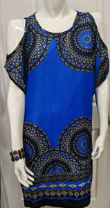 Dark Blue Hole Shoulder Short Dress XL