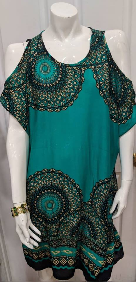 Green Hole Shoulder Short Dress XL