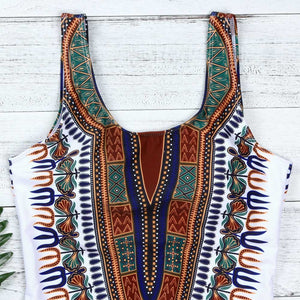 African Dashiki Print One Piece Swimsuit L - XXXL