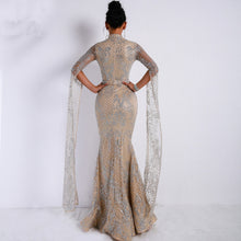 Load image into Gallery viewer, Elegant Silver & Cream Mermaid Evening Dress