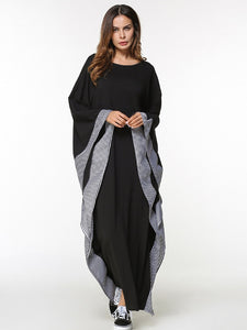 XL Kaftan with Plaid Patchwork Feature