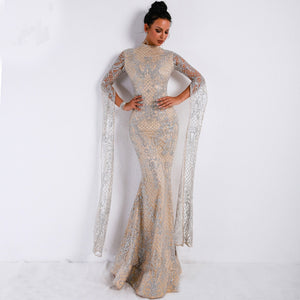 Elegant Silver & Cream Mermaid Evening Dress