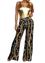 Load image into Gallery viewer, Gold Chain Print Wide Leg Palazzo Pant S - XL
