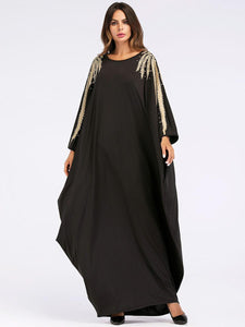 Black & Gold Embellished Kaftan