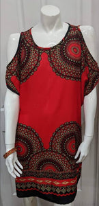 Red Hole Shoulder Short Dress XL