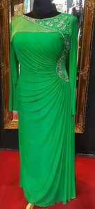 Sha Sha Bling Embellished Green Evening Dress with Sleeves XL