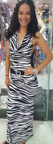 Zebra Sexy Stretch Evening Dress
