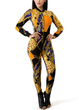 Load image into Gallery viewer, Chain Print Zipper Long Sleeve Bodycon Jumpsuit S - XL