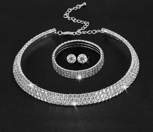 Bling Rhinestone Necklace Earring Bangle Set