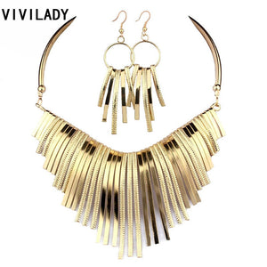 VIVILADY Collar Metal Jewelry Sets Women Statement Necklaces Chokers Earrings Zinc Alloy Bridal Fashion Maxi Gift Accessory BFWS