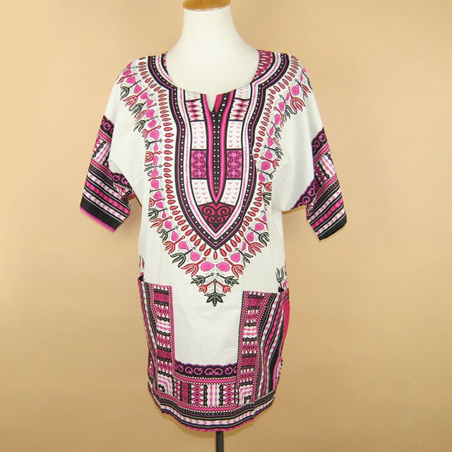 Unisex African Dashiki Print Tops with Pockets