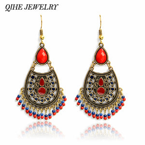 Vintage chandelier earrings Red stone beads hanging statement earring Bohemian style jewelry BOHO earrings for women