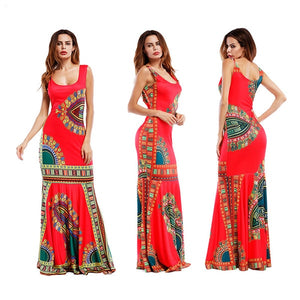 African Dashiki Print Bodycon Mermaid Long Maxi Dress