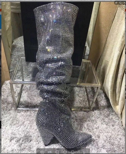 blingbling new fashion lady spike chunky heel silver rhinestones knee high boots silver diamonds knee boots real photos custom