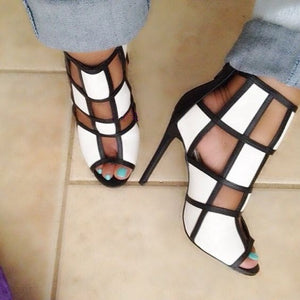 Genuine Leather Back Zipper Gladiator Heel Sandal Boots