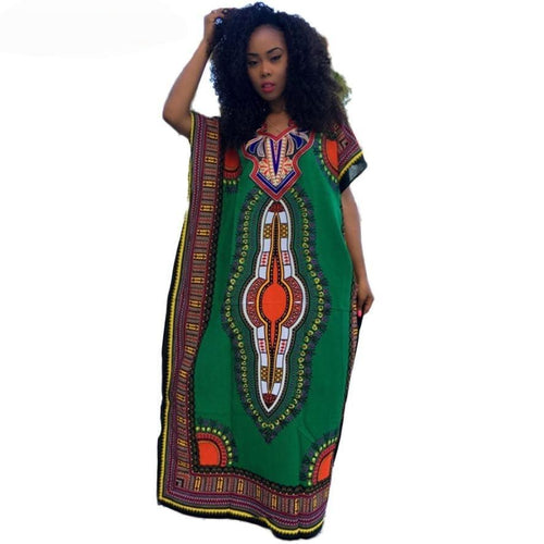African Dashiki Print Kaftan Dress