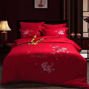 4 PieceOriental embroidery luxury bed cover set