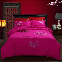 Load image into Gallery viewer, 4 PieceOriental embroidery luxury bed cover set