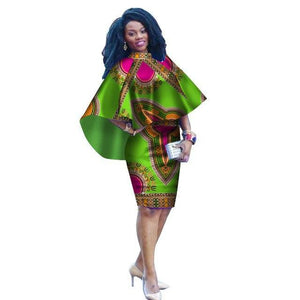 African Dashiki Print Cape Dress S - 7XL