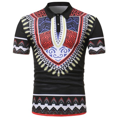 Mens African Dashiki Print Polo Shirt M - 2XL 10 Colors Available