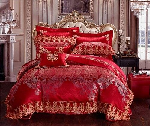 4 Piece Luxury Cotton Satin Lace Red Bedding Duvet cover Bed/Flat sheet bed spread set Pillowcase