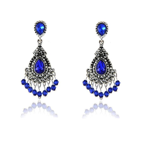 Blue & Silver Chandelier Earrings
