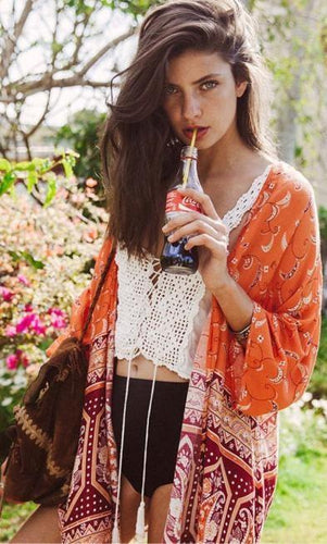 Printed Three Quarter Sleeve Beach Kimono Cardigan